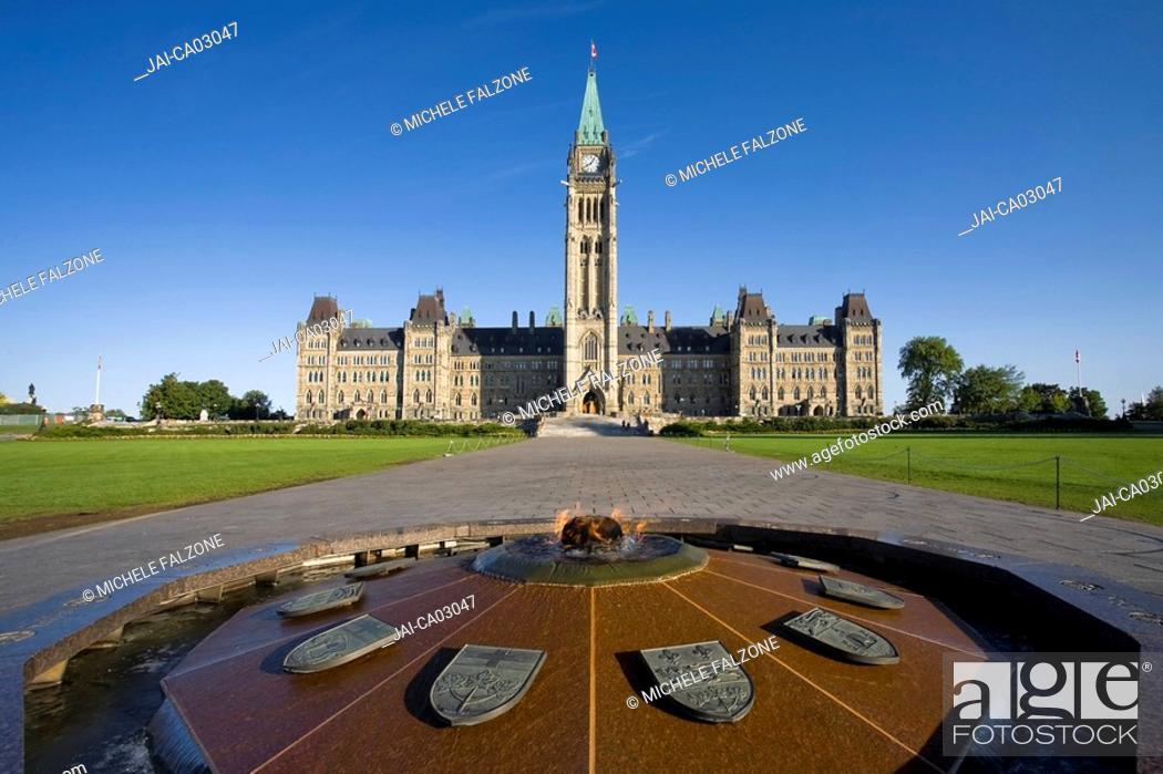 Stock Photo: Canadian Parliament & Centennial Flame Monument, Parliament Hill, Ottawa, Ontario, Canada.