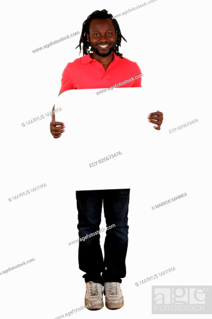 Stock Photo: young man african black while keeping the copy space for letter or text cut.