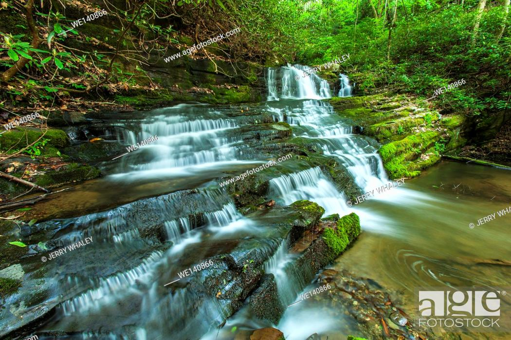 Stock Photo: Waterfalls on Rhododendron Creek in Greenbrier, Great Smoky Mountains National Park ,TN.