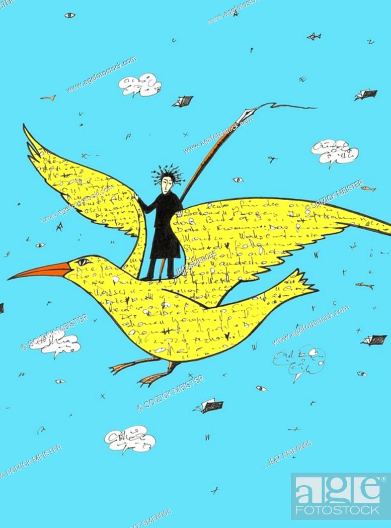 Stock Photo: A person flying on a bird covered in words.