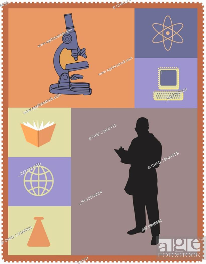 Stock Photo: A researcher drawn with his equipments and information sources.