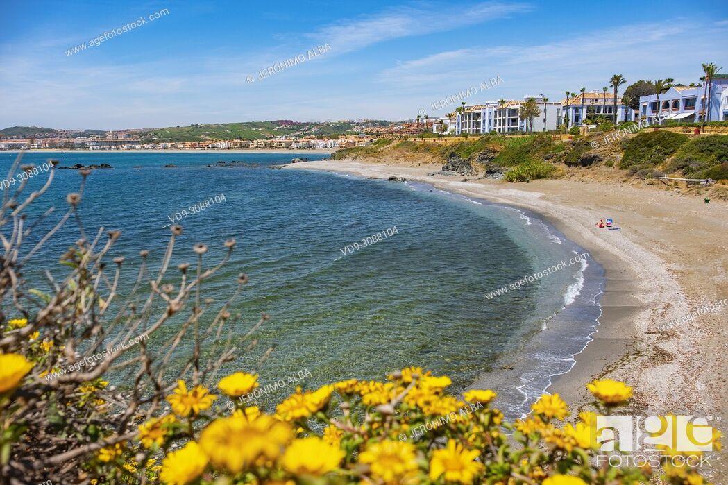 Stock Photo: Beach. Playa Ancha, Casares. Malaga province Costa del Sol. Andalusia Southern Spain, Europe.