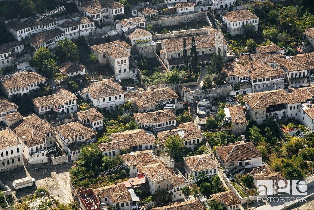 Stock Photo: view of berat berati historic old town rooftops in albania.