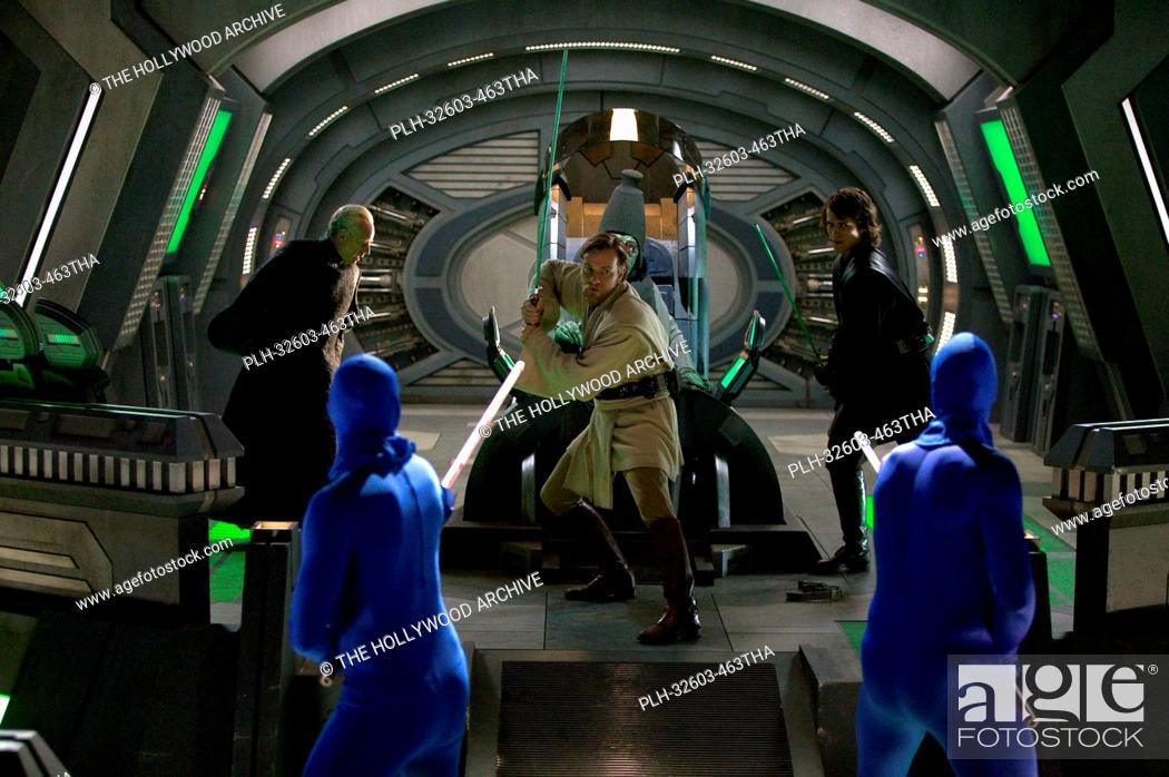 Stock Photo: Ewan McGregor and Hayden Christensen battle MagnaGuards in Star Wars Episode III: Revenge of the Sith (2005).