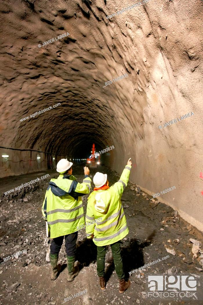 Stock Photo: Architects overseeing the maintenance of the tunnel, Tunnel construction, Works of the new railway platform in the Basque Country.