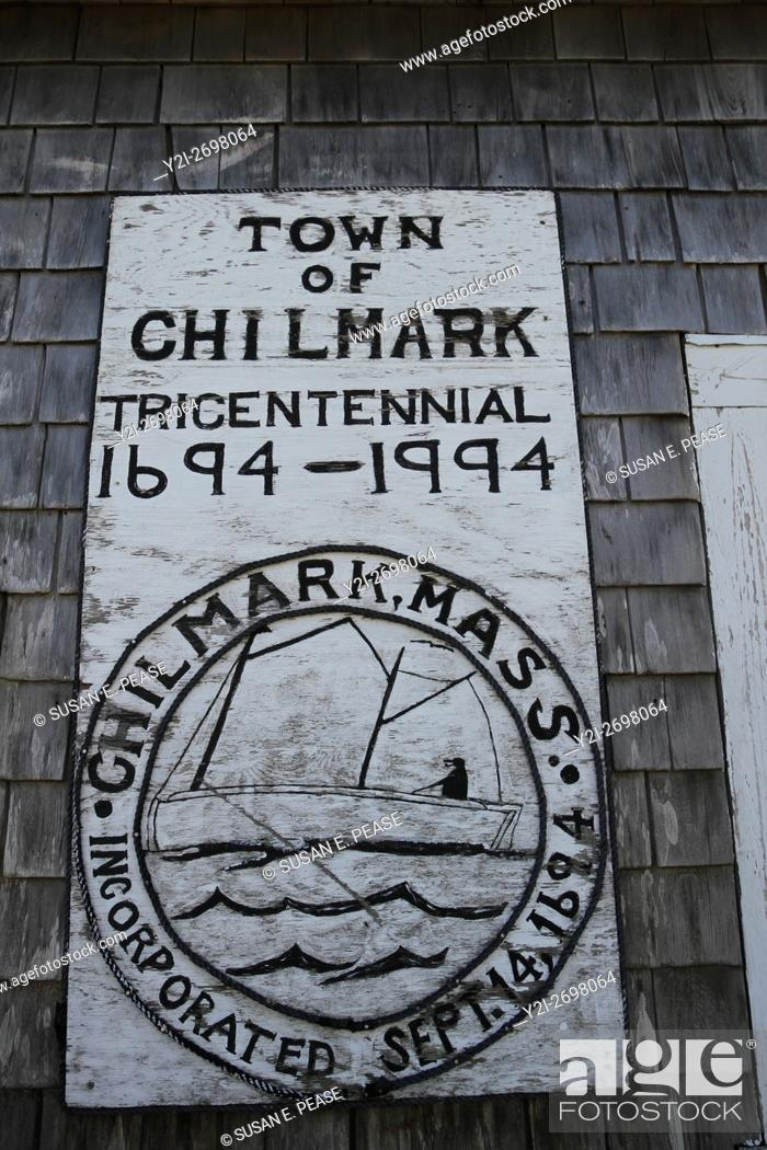 Stock Photo: Tricentennial sign in the village of Menemsha, within the town of Chilmark, Martha's Vineyard, Massachusetts, United States, North America.