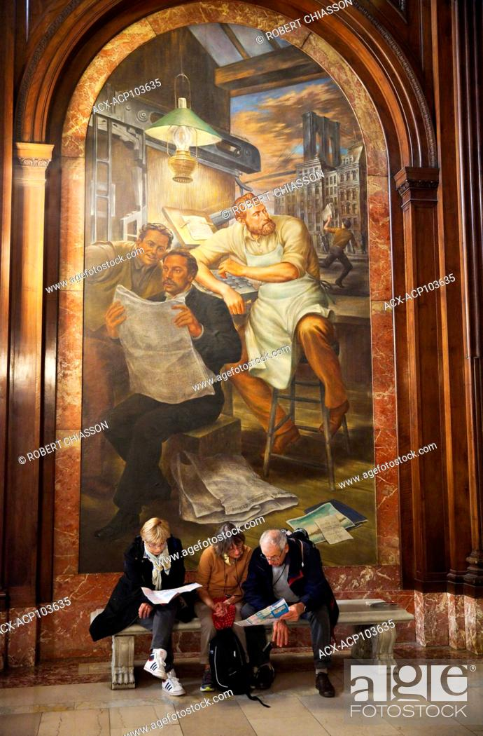 Stock Photo: Mural by Edward Lanning depicting New York Tribune's Whitelaw Reid examining the first newspaper McGraw Rotunda in the New York Public Library, New York City.