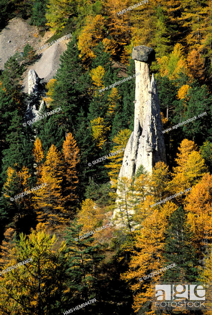 Stock Photo: France, Hautes-Alpes (05), fairy chimney in Queyras regional natural park.