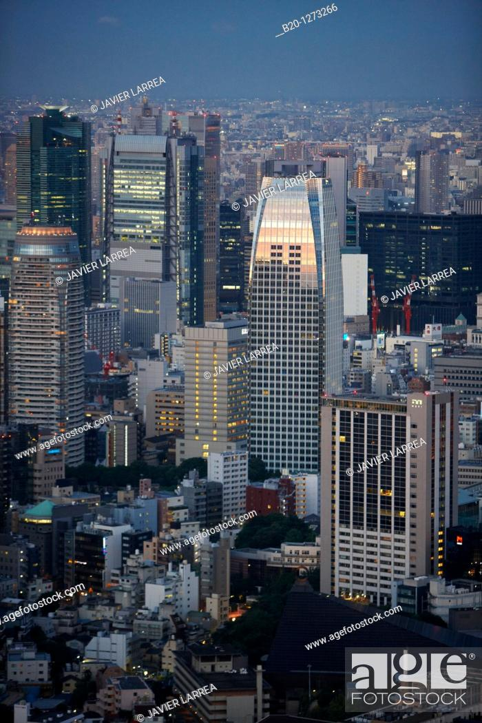 Stock Photo: Atago Green Hils Mori Tower, Tokyo City View, Tokyo, Japan.