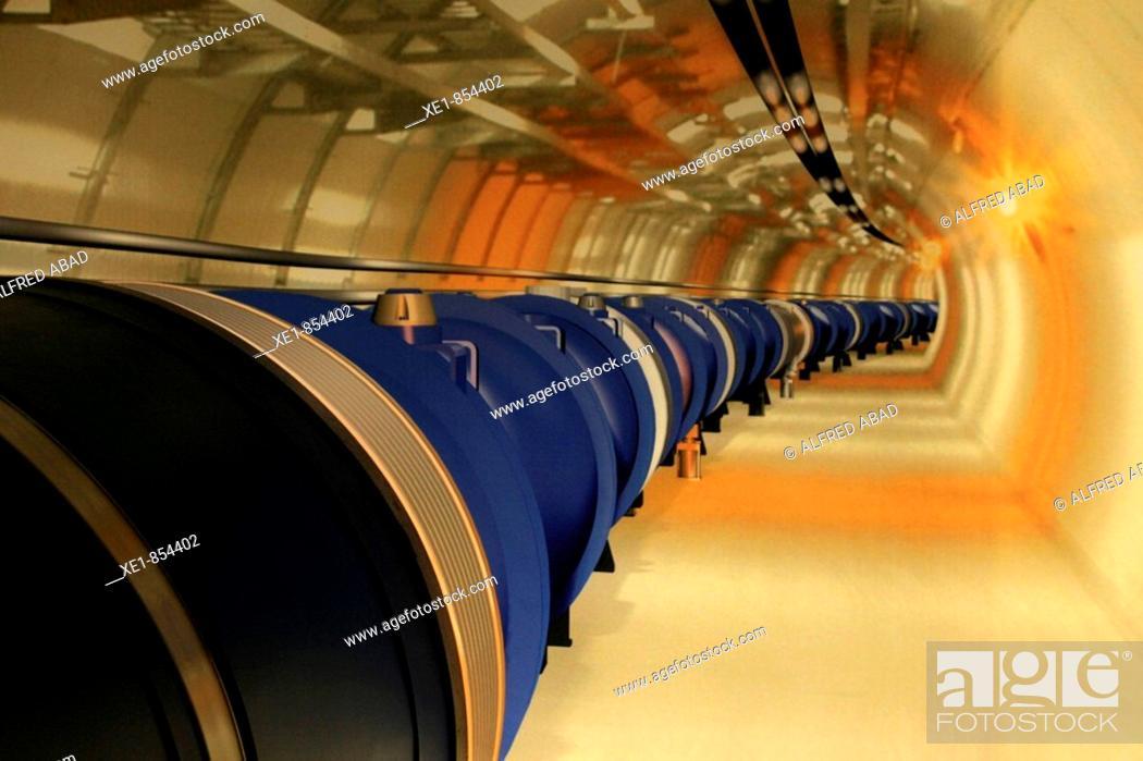 Stock Photo: LHC model, MNACTEC (Museu de la Ciencia i de la Tecnica de Catalunya) museum. Terrassa, Barcelona province, Catalonia, Spain.