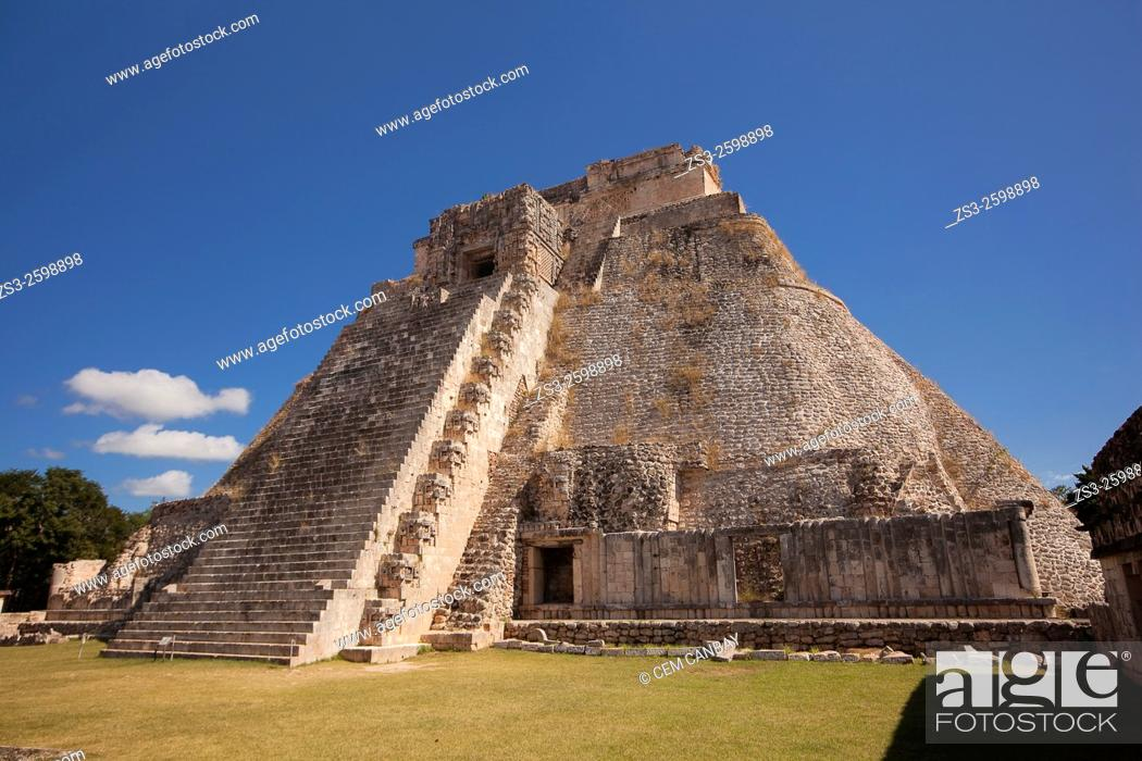 Stock Photo: Pyramid of the Magician, Maya archeological site Uxmal, Yucatan, Mexico, Central America.