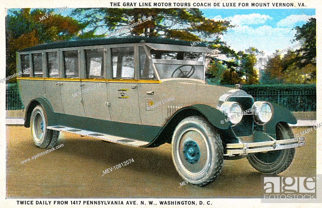 Stock Photo: Gray Line Motor Tour Coach de Luxe, Washington DC, USA. Starting from Pennsylvania Avenue twice daily, it took tourists to see Mount Vernon (Washington's home.