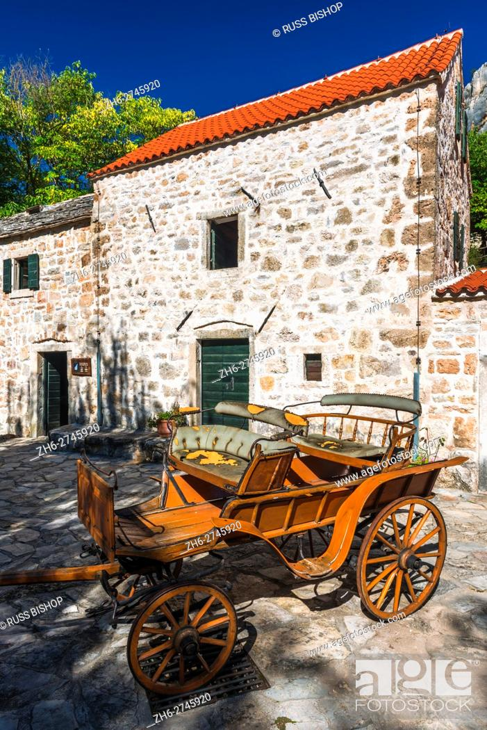 Stock Photo: Historic fort and wagon at Roski Slap, Krka National Park, Dalmatia, Croatia.