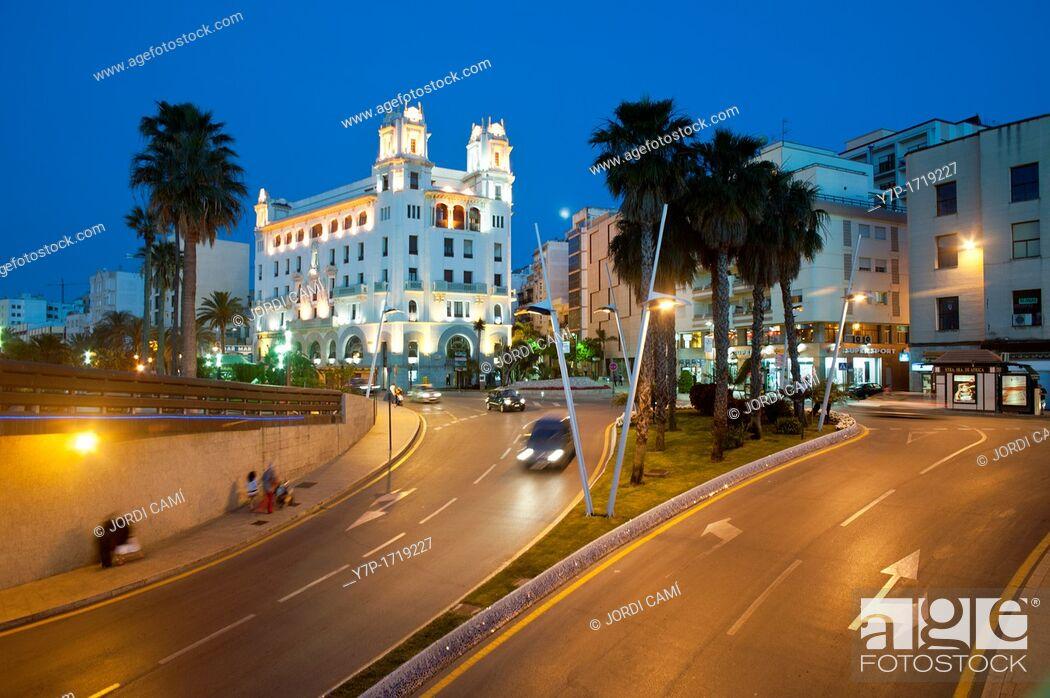 Stock Photo: Plaza de la Constitucion Roundabout and Casa Trujillo in background Ceuta  Spain.