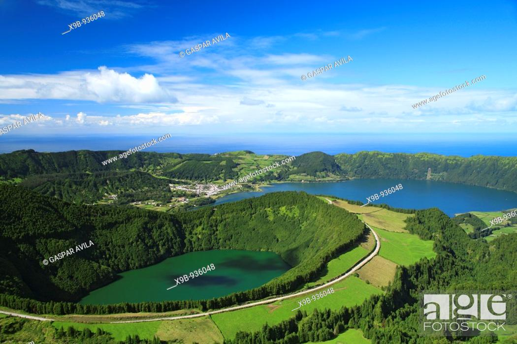 Stock Photo: Sete Cidades crater and Santiago lake  Sao Miguel island, Azores islands, Portugal.