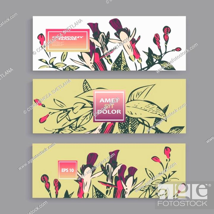 Stock Vector: Botanical wedding invitation card template design, hand drawn fuchsia flowers and leaves, pastel color vintage rural with square frame on white background.