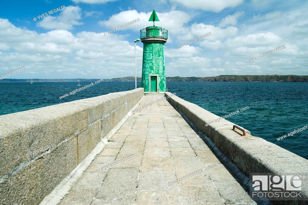 Stock Photo: Lighthouse at end of sea wall, Camaret-sur-Mer, Brittany, France.