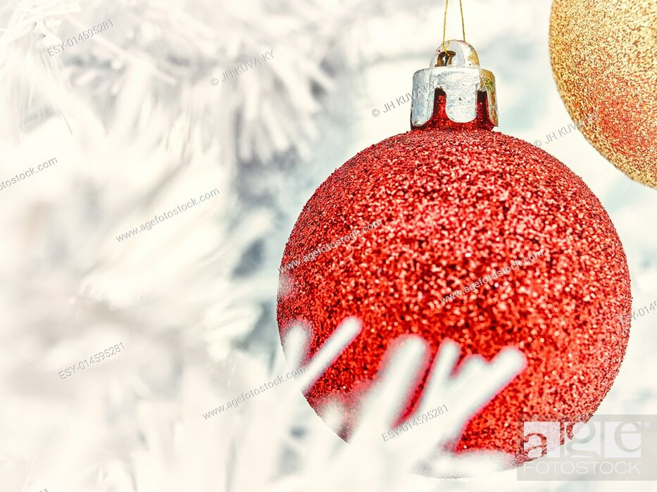 Stock Photo: Red and golden balls decorates the white christmas tree - vintage tinted.