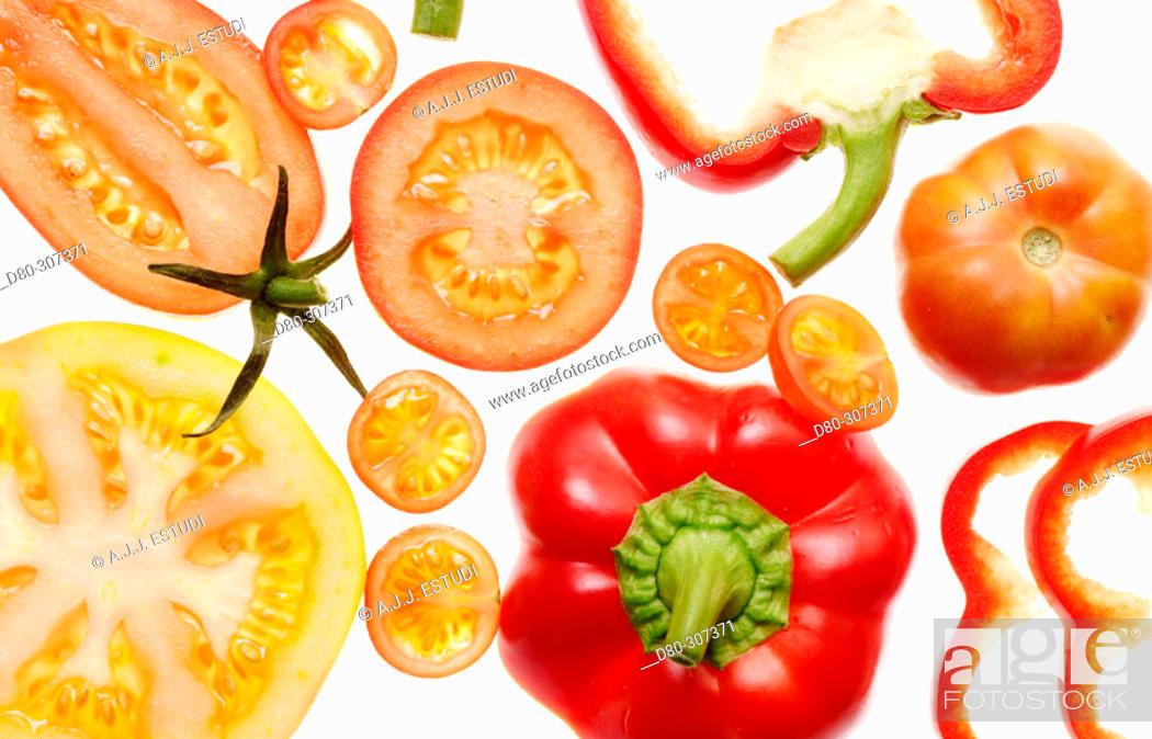 Stock Photo: Tomatoes and peppers.