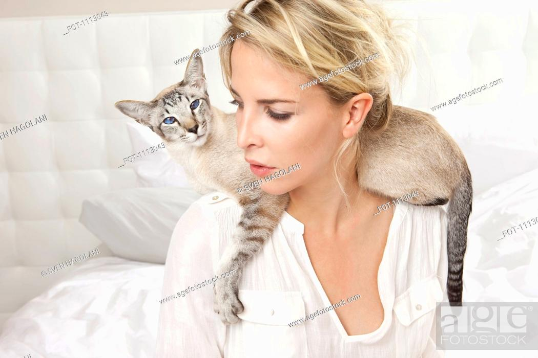 Stock Photo: A Siamese cat wrapped around his owners shoulders.