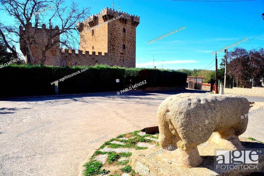 Stock Photo: Stone verraco. Villaviciosa, Solosancho, Avila, Spain.