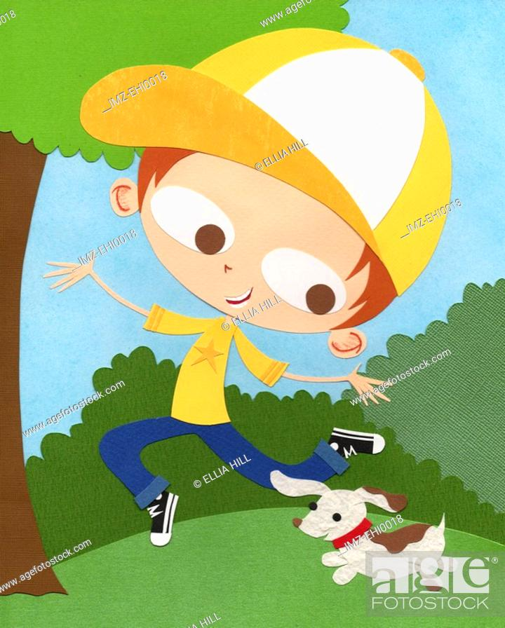 Stock Photo: A paper cut illustration of a boy playing outdoors with his pet dog.