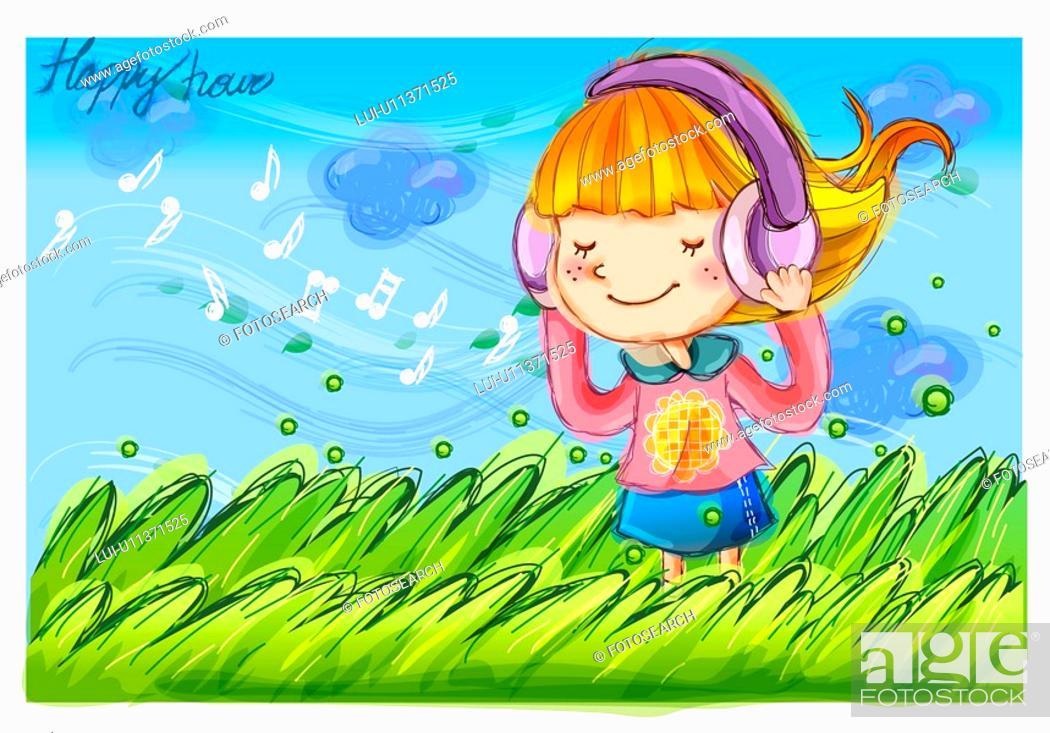 Stock Photo: wind, fairy tale, windy, field, headphone, nature.
