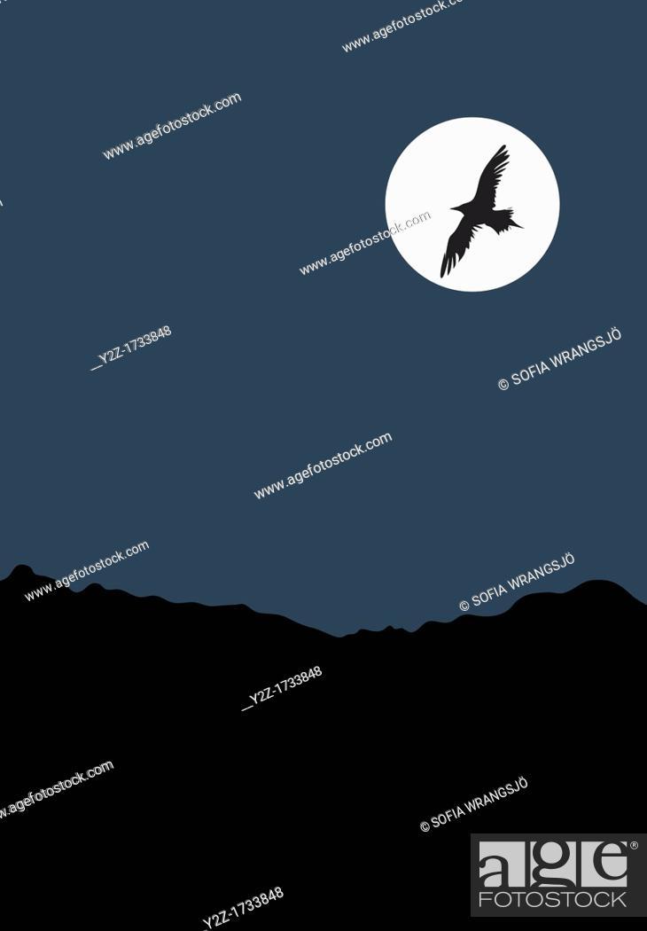 Stock Photo: Bird and Full moon.