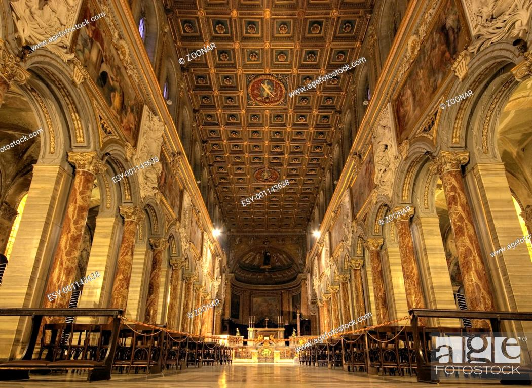 Stock Photo: Nave of San Marco Basilica, Rome.