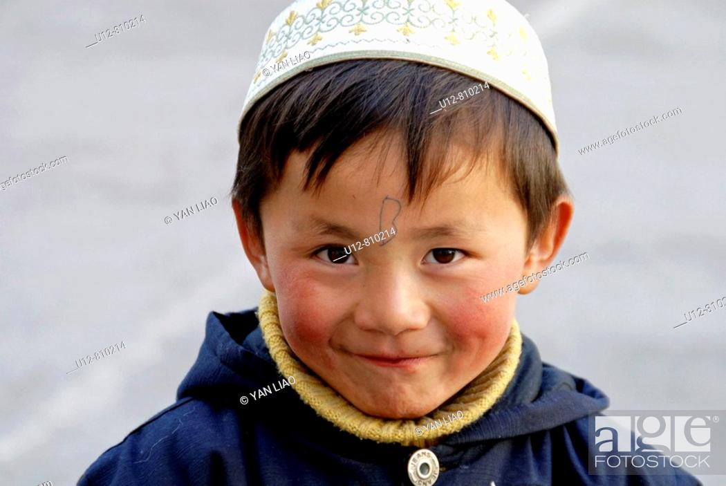 Stock Photo: A Muslim boy,Xining,Qinghai,China.