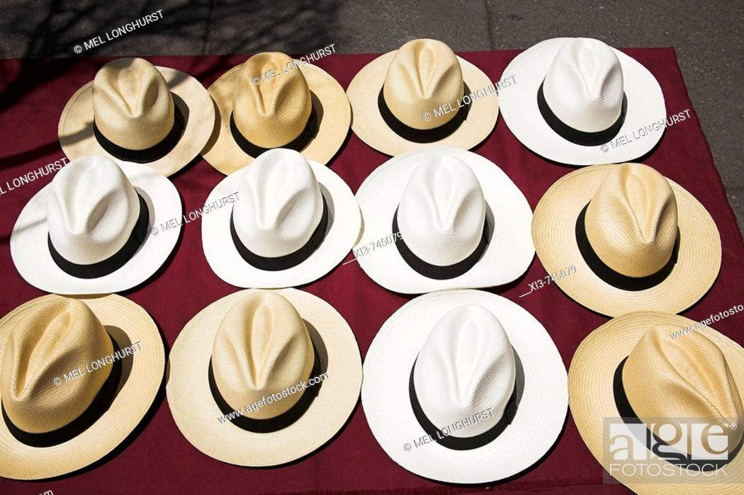 Stock Photo: Twelve Panama hats for sale, Mexico City, Mexico.