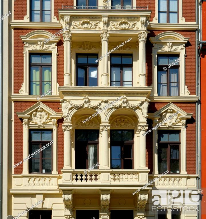 Stock Photo: Germany, North Rhine-Westphalia, Cologne, Jugendstil house, red facade, balcony, detail.