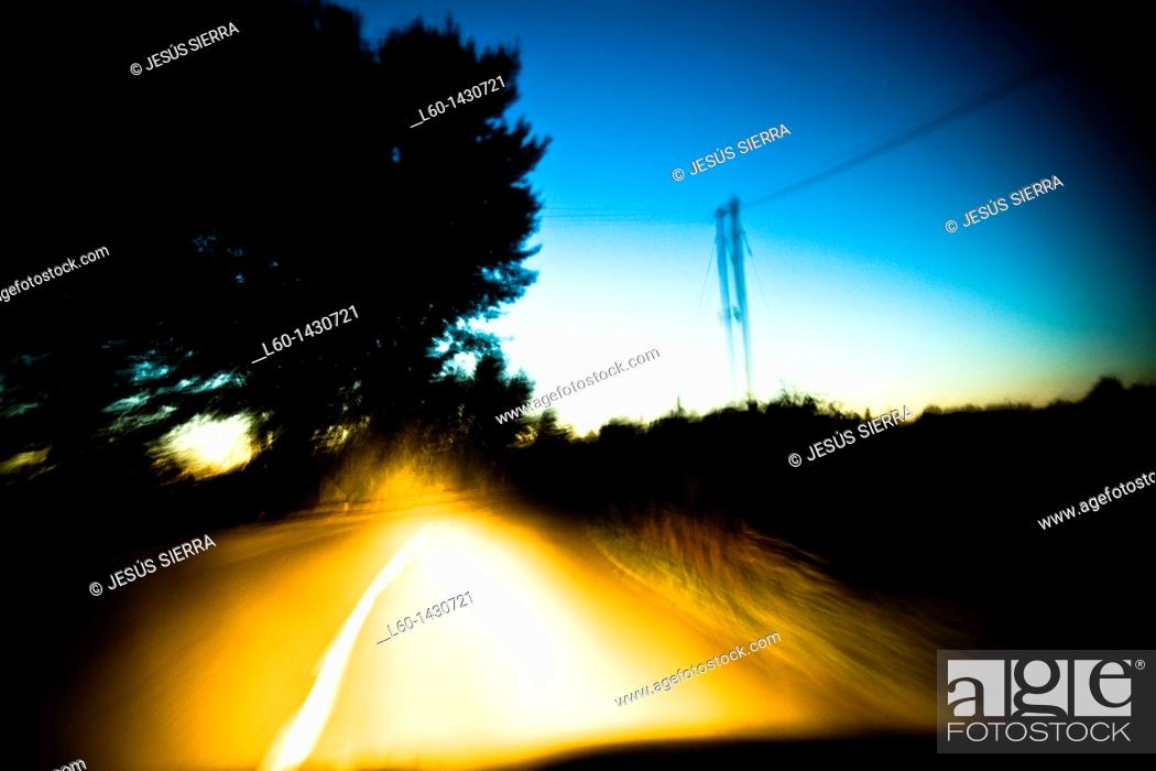 Stock Photo: Road in the night, Spain.