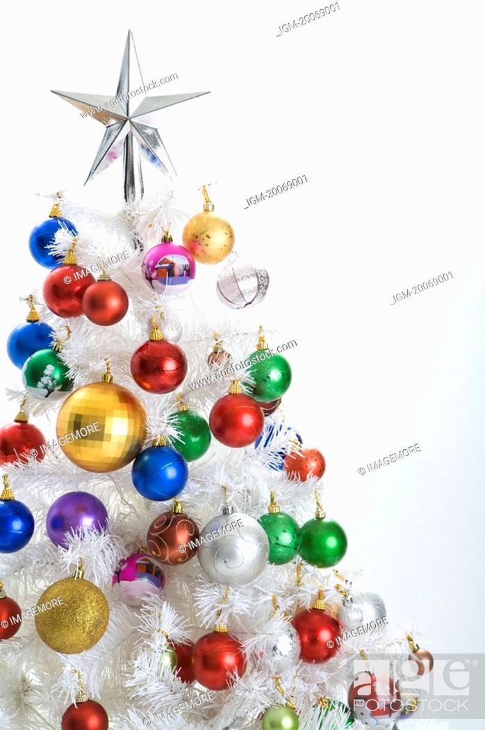Stock Photo: Abundant Christmas baubles on a Christmas Tree.