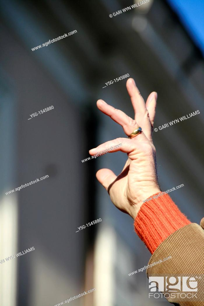Stock Photo: conductor with raised hand at outdoor concert.
