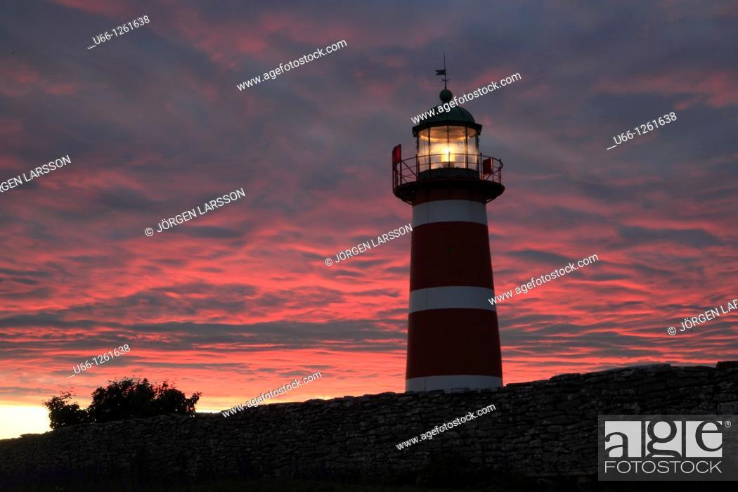 Stock Photo: Lighthouse  Närsholmen Gotland Sweden.