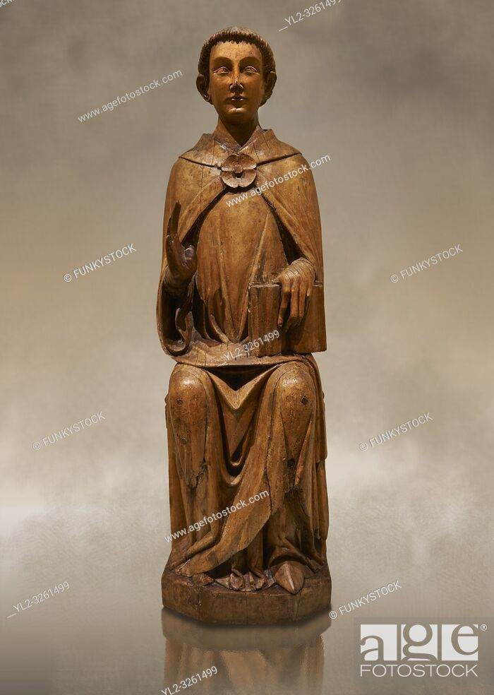 Stock Photo: Gothic statue of Saint Peter by Joan Gasco. Tempera, oil, and stucco reliefs in gold leaf on wood. Date circa 1516. From the church of Santa Maria of.