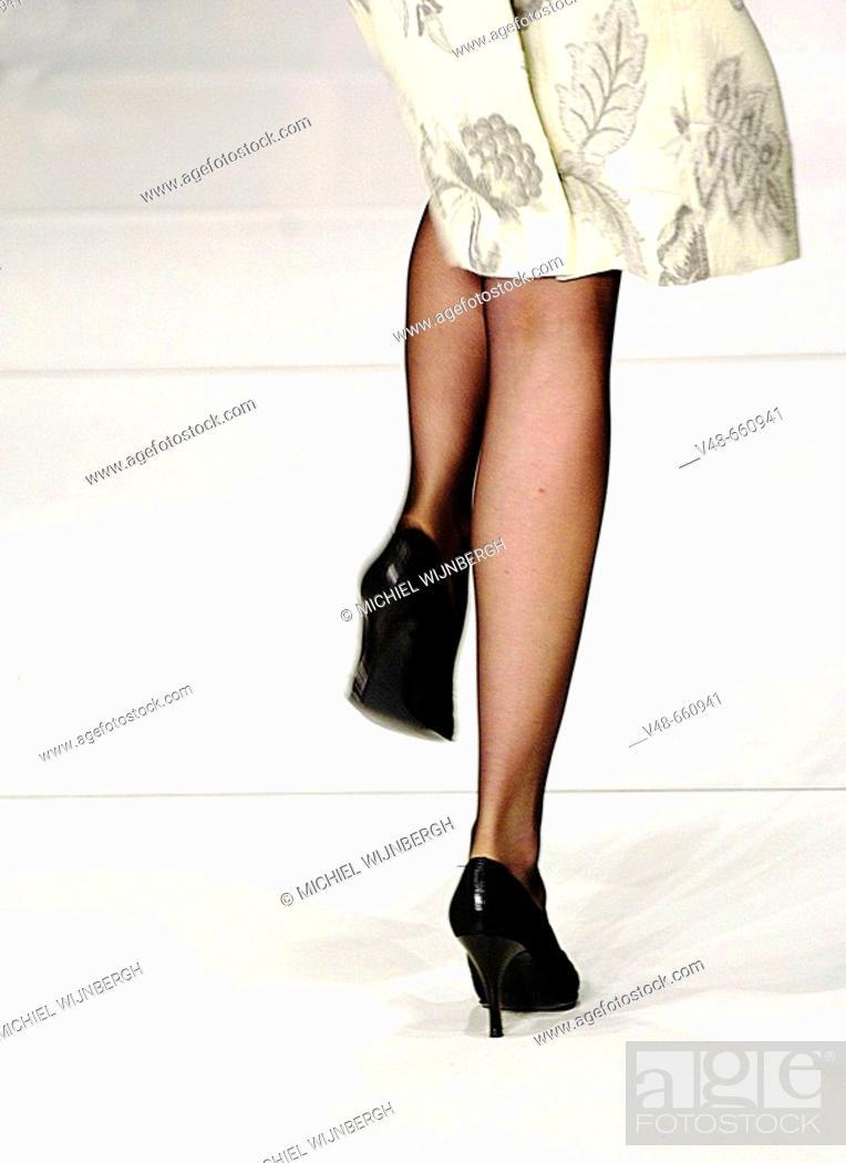 Stock Photo: Fashion designer Mart Visser show during the Amsterdam International Fashion Week: detail of a model on the catwalk. Netherlands (January 2007).