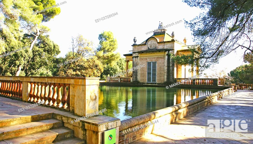 Stock Photo: Pond and house in the Labyrinth of Horta in Barcelona, Catalunya, Spain.