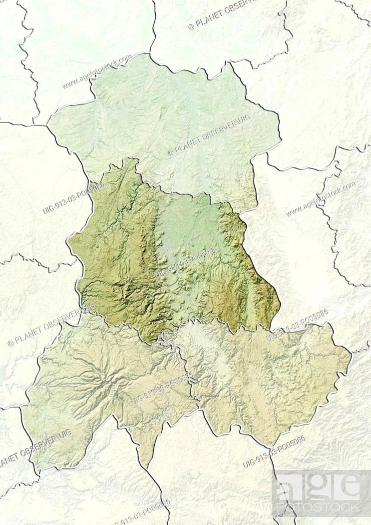Stock Photo: Departement of Puy-de-Dome, France, Relief Map.