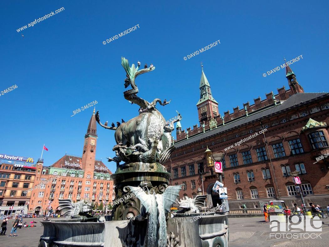 Stock Photo: City Hall Square, Copenhagen, Denmark.
