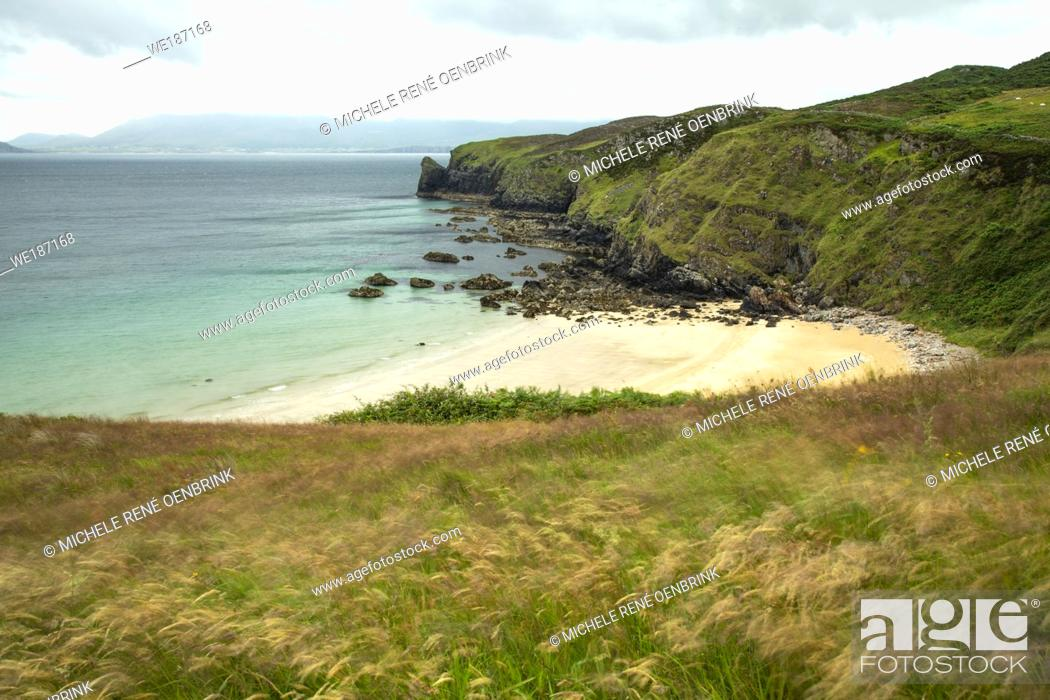 Stock Photo: Beach at Fanad Head Lighthouse, County Donegal Republic of Ireland.