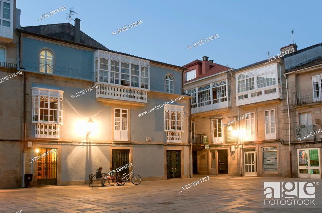 Stock Photo: Plaza de Macias at night, Padron, La Coruna province, Region of Galicia, Spain, Europe.