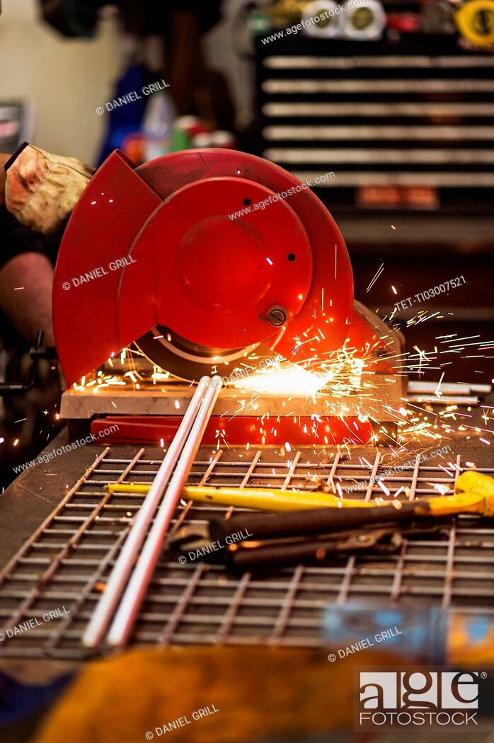 Stock Photo: Close-up of welder grinding.