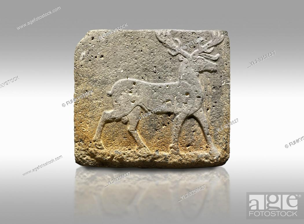 Stock Photo: Picture & image of Hittite monumental relief sculpted orthostat stone panel from Water Gate Basalt, Karkamis, (Kargamis), Carchemish (Karkemish).