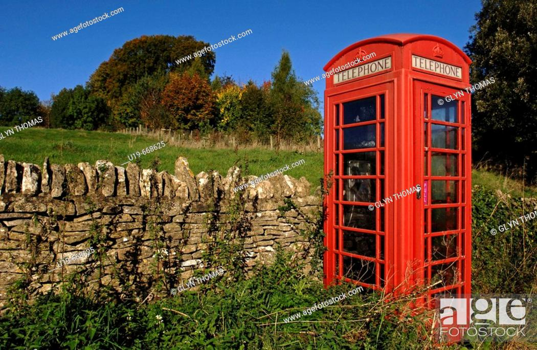 Stock Photo: Red telephone box.
