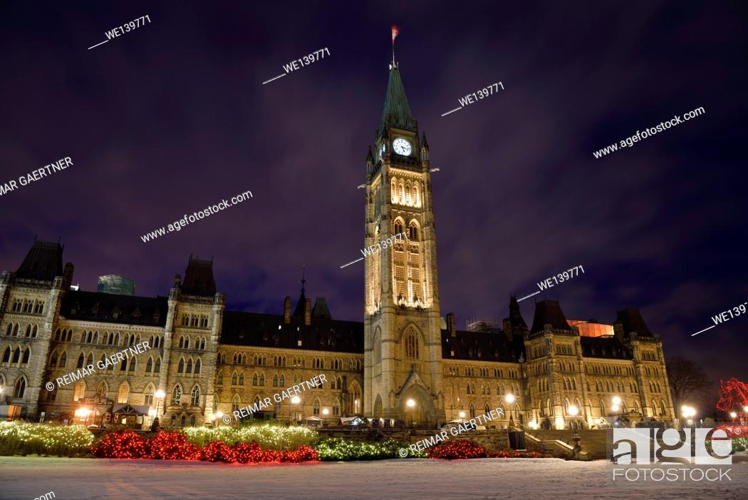 Stock Photo: Christmas lights at Parliament Hill with lit Canadian government buidings in Ottawa.
