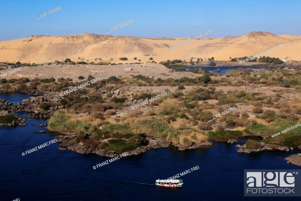 View Over The Cataracts Of The Nile In Aswan Egypt Africa Stock