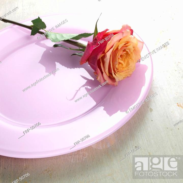 Stock Photo: Rose on a light violet plate.
