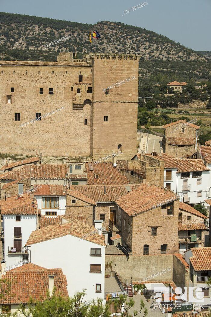Stock Photo: View of the town and castle. Mora de Rubielos.Camino del Cid. Aragón. Spain.